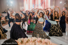 Dazzling bridesmaids performing a choreography