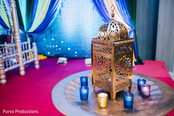 Elegant golden and blue lantern decoration.