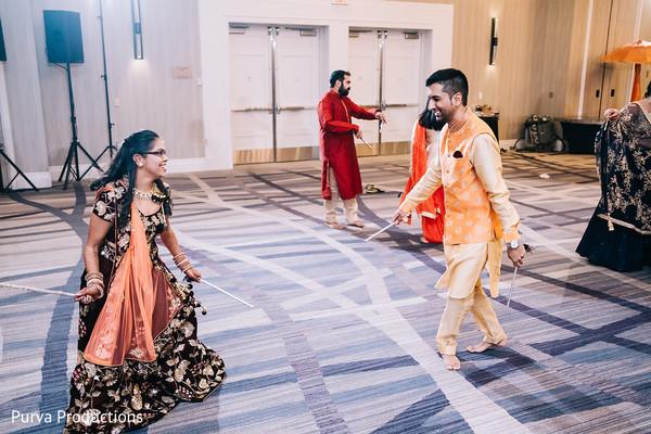 Indian pre-wedding couple's garba dance.