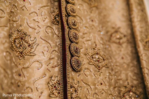Incredible Indian groom's details on sherwani.