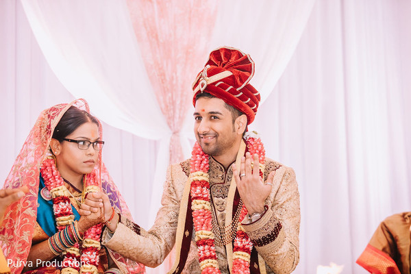 Indian couple engagement ritual.