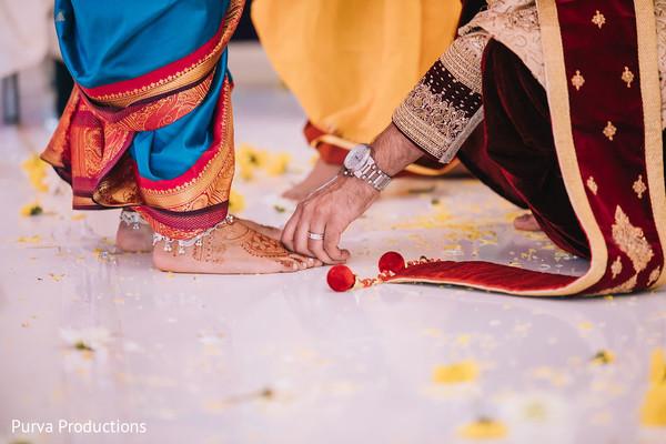 Saptapadi ritual closeup capture.