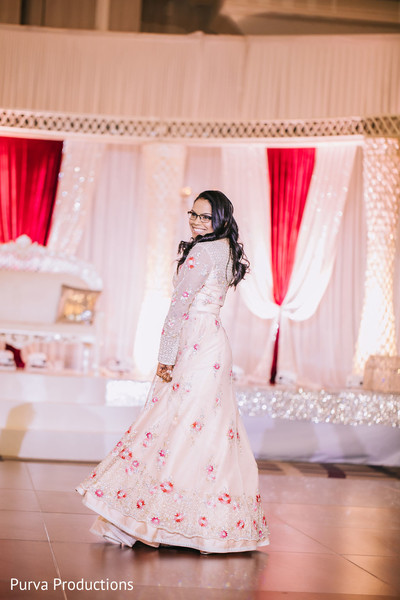 Dreamy Indian bride on her reception outfit.
