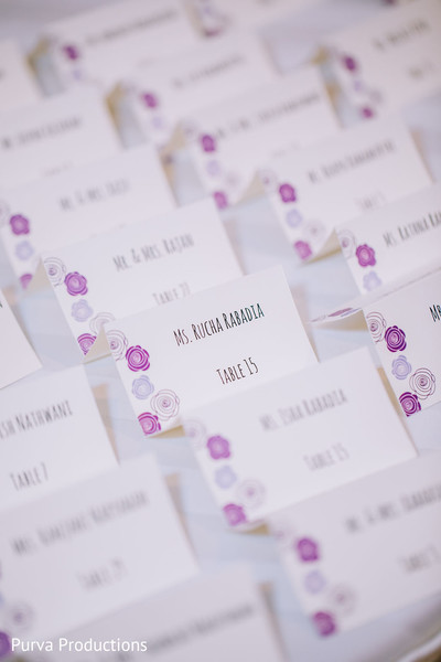 Indian wedding reception table cards.