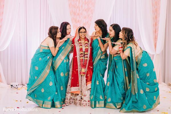 Indian bride and bridesmaids photo shoot.