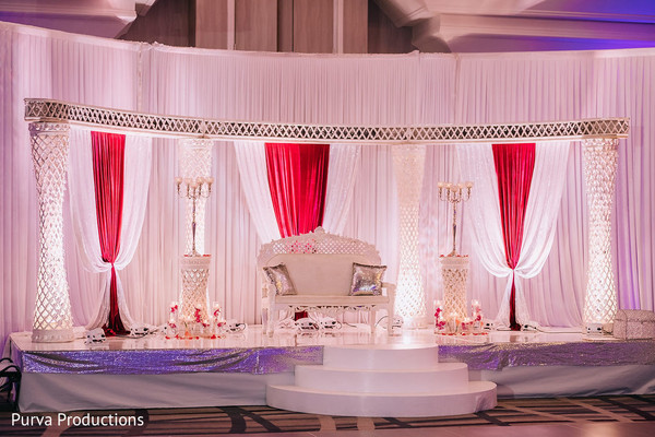 Marvelous Indian wedding reception stage decoration.