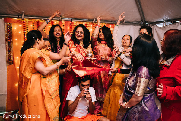 Special ritual for indian groom pre-wedding celebration.