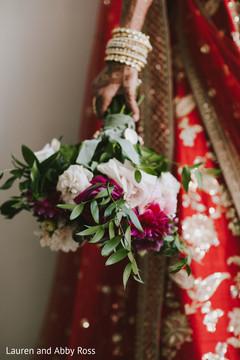 Floral arrangement details of the Indian bride