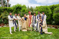 Marvelous Indian groom with bridesmaid and groomsmen.