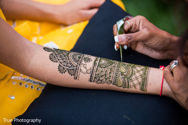 Detailed Indian bridal mehndi art capture.