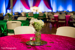 Colorful sangeet table decoration.