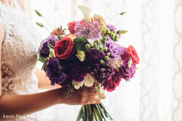 Floral design details of the bride