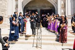Indian bride and groom leaving the ceremony