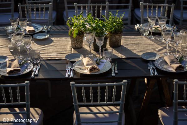 Indian wedding table plants decoration.