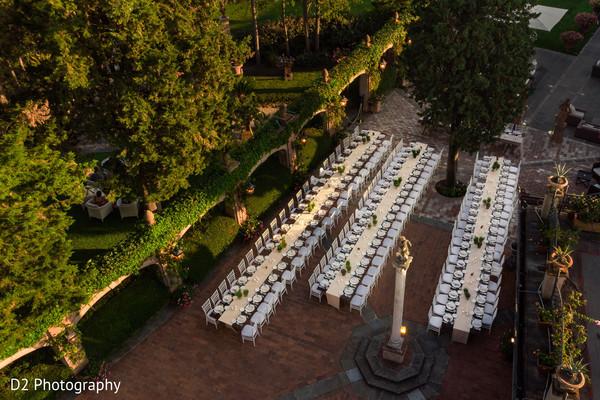 Marvelous outdoors Indian wedding reception decor.