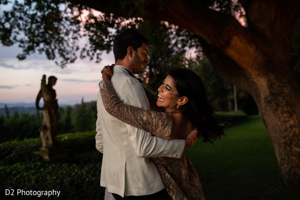 Romantic Indian bride and groom out doors capture.
