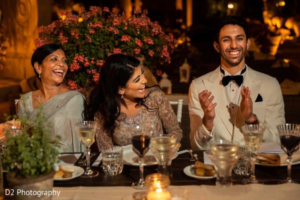 Cheerful Indian wedding reception photography.