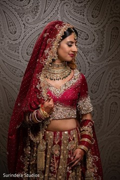 Enchanting Indian bride on her ceremony attire.