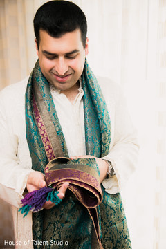 Indian groom getting ready for the bash