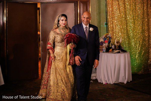 Indian bride making his entrance with guest