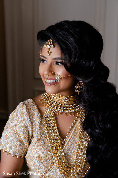 Indian bride with her ceremony jewelry on.