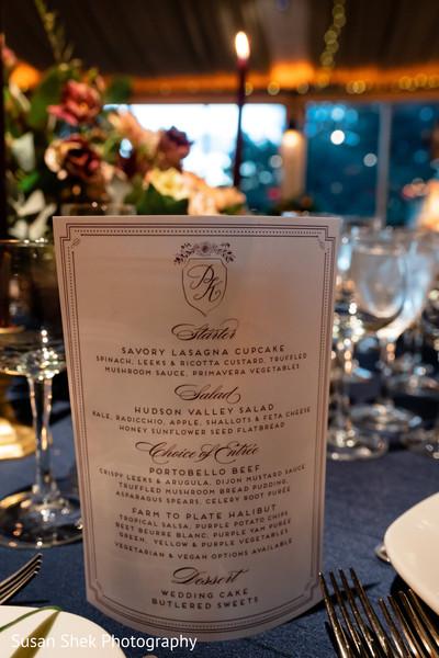 Elegant Indian wedding reception menu sign.