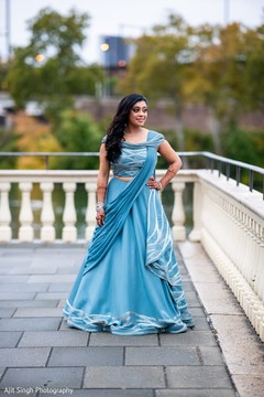 Bride posing with beautiful lengha