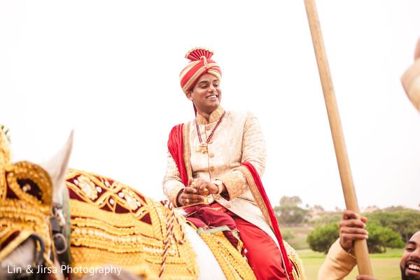 Indian groom during the fun baraat