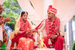Indian bride and groom getting married