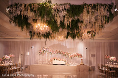 Floral arrangement details of the reception venue