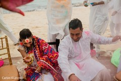 Indian bride and groom having fun