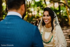 Indian bride and groom meeting for the first time