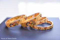 Marvelous Indian bridal golden bangles.