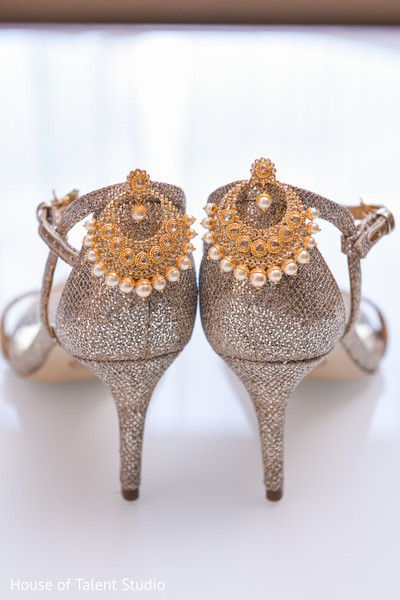 Stunning Indian bridal ceremony earrings and shoes.