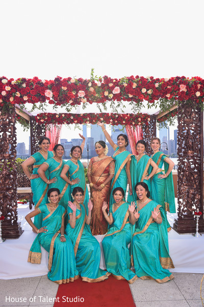 See this lovely Indian bride with bridesmaids photo session.