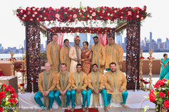 See this lovely Indian couple white groomsmen photo.