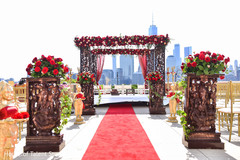 Dreamy mandap roses decoration.