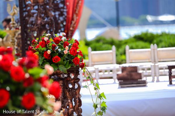 Lovely Indian wedding ceremony roses decoration.