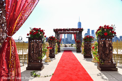 Elegant Indian wedding ceremony aisle decoration.