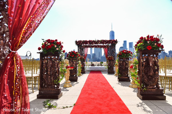 indian wedding ceremony,roses decor,draping,aisle decor