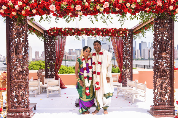 Just married Indian couple photo.