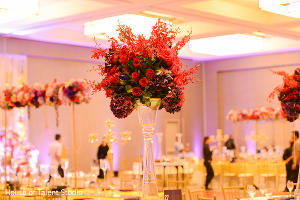 Marvelous Indian wedding reception flowers decor.