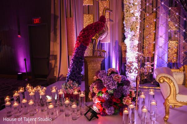 indian wedding reception,flowers decor,stage decor