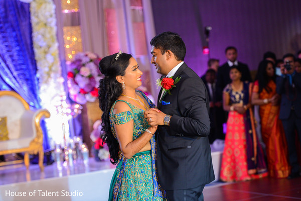 Indian couple romantic reception dance.