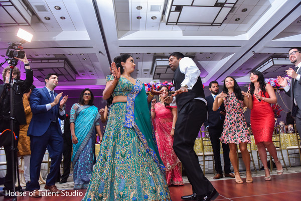 Upbeat indian bride and groom's reception dance.