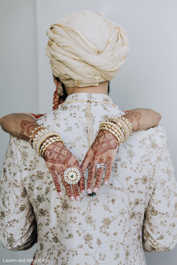 Indian bride and groom stylish moment