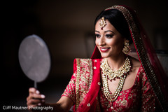 Beautiful indian bride dolled up for her ceremony.