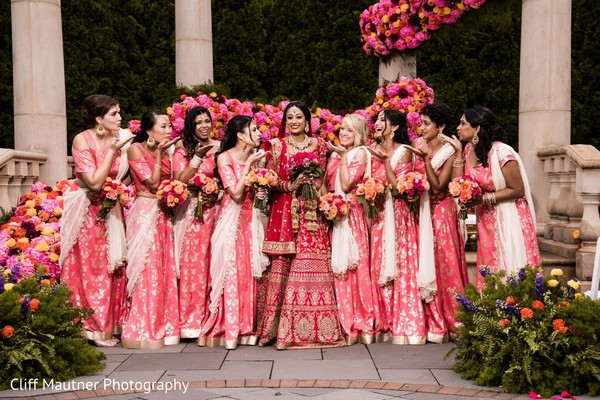 Glamorous indian bride and bridesmaids photography.