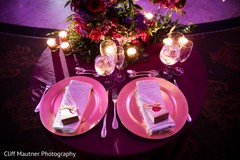 Indian couple's reception table decor.
