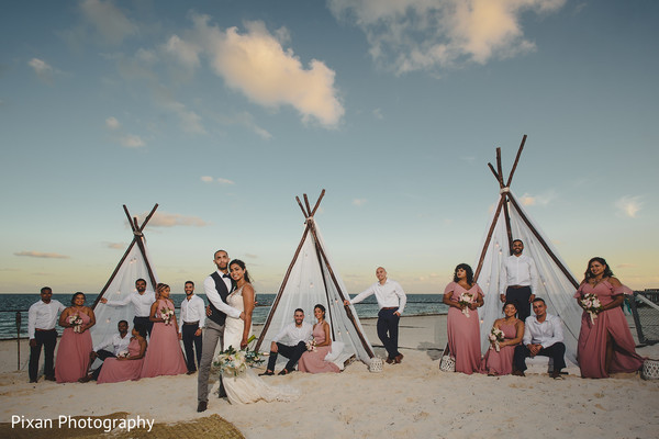 indian bride,indian groom,indian bridesmaids and groomsmen,photo session